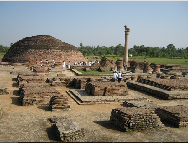 Ashoka Pillar with remains of Stupa in Vaishali