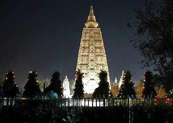Mahabodhi Temple Bodh Gaya at Night