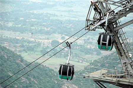 View from Ropeway Car at Trikut Pahar Deoghar